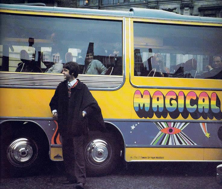 Paul McCartney with the Magical Mystery Tour coach, Teignmouth, 11 September 1967