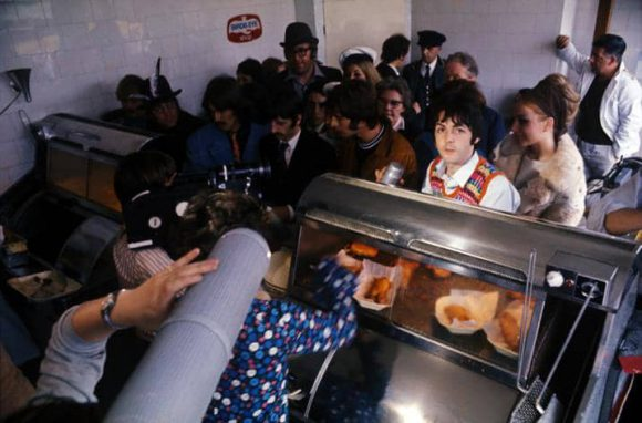 The Beatles at Smedley's fish and chip shop, Taunton, 15 September 1967