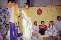 George Harrison, Pattie Boyd and others in Rishikesh, India, 25 February 1968