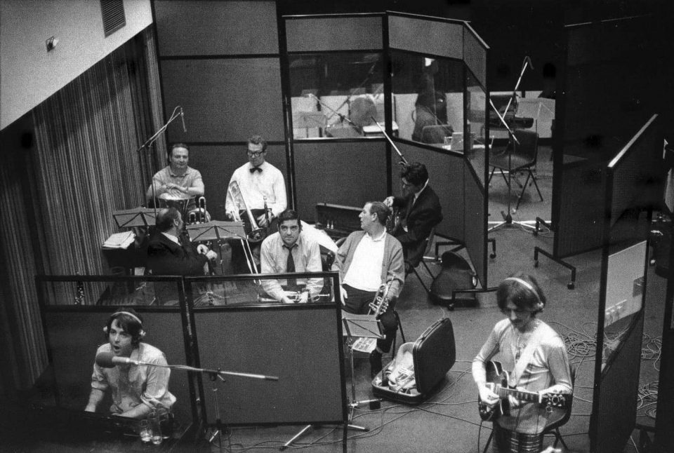 Paul McCartney and George Harrison recording Martha My Dear, 4 October 1968