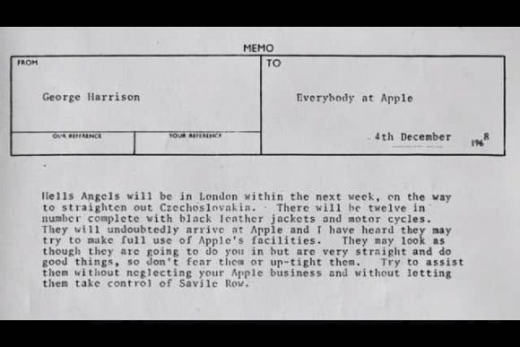 George Harrison's memo to Apple staff about the Hells Angels, 4 December 1968