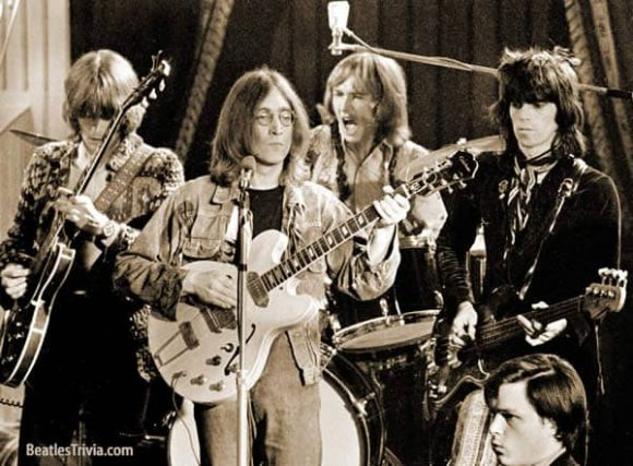 John Lennon with the Dirty Mac at the Rolling Stones' Rock And Roll Circus, 11 December 1968