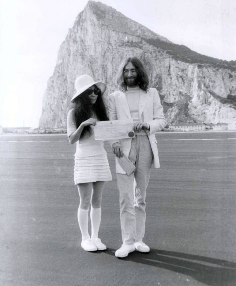 John Lennon and Yoko Ono in Gibraltar on their wedding day, 20 March 1969