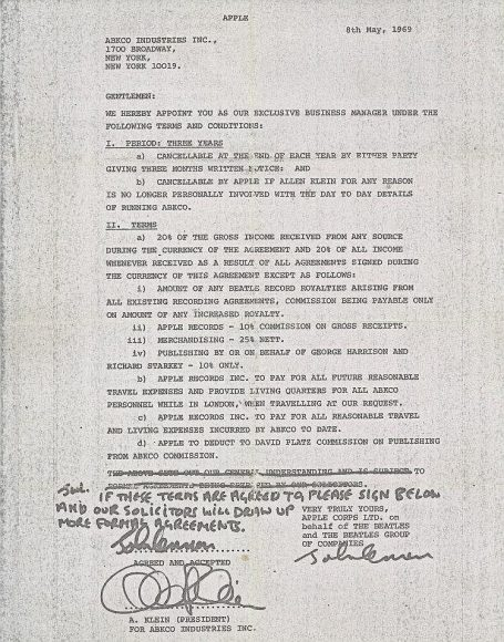 John Lennon's signed contract appointing Allen Klein as The Beatles' manager