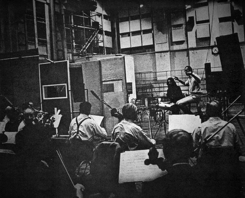 George Harrison, George Martin and orchestral musicians, 15 August 1969