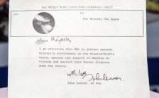 Letter from John Lennon to the Queen returning his MBE, 25 November 1969