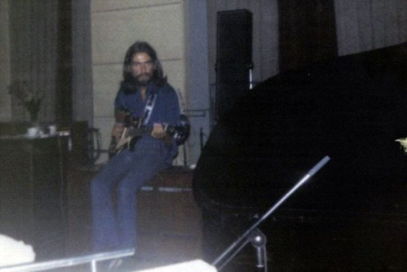 George Harrison recording Abbey Road, 1969