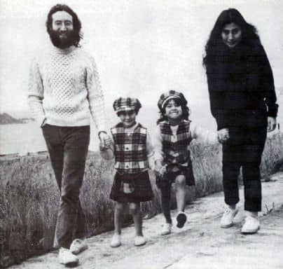 John Lennon, Julian Lennon, Kyoko Cox and Yoko Ono in Scotland, June 1969