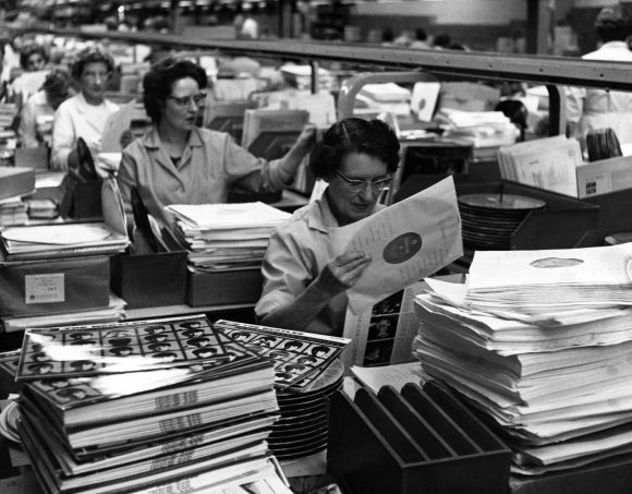 A Hard Day's Night production line, 1964