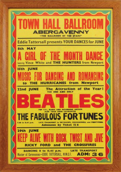 Poster for The Beatles in Abergavenny, Wales, 22 June 1963