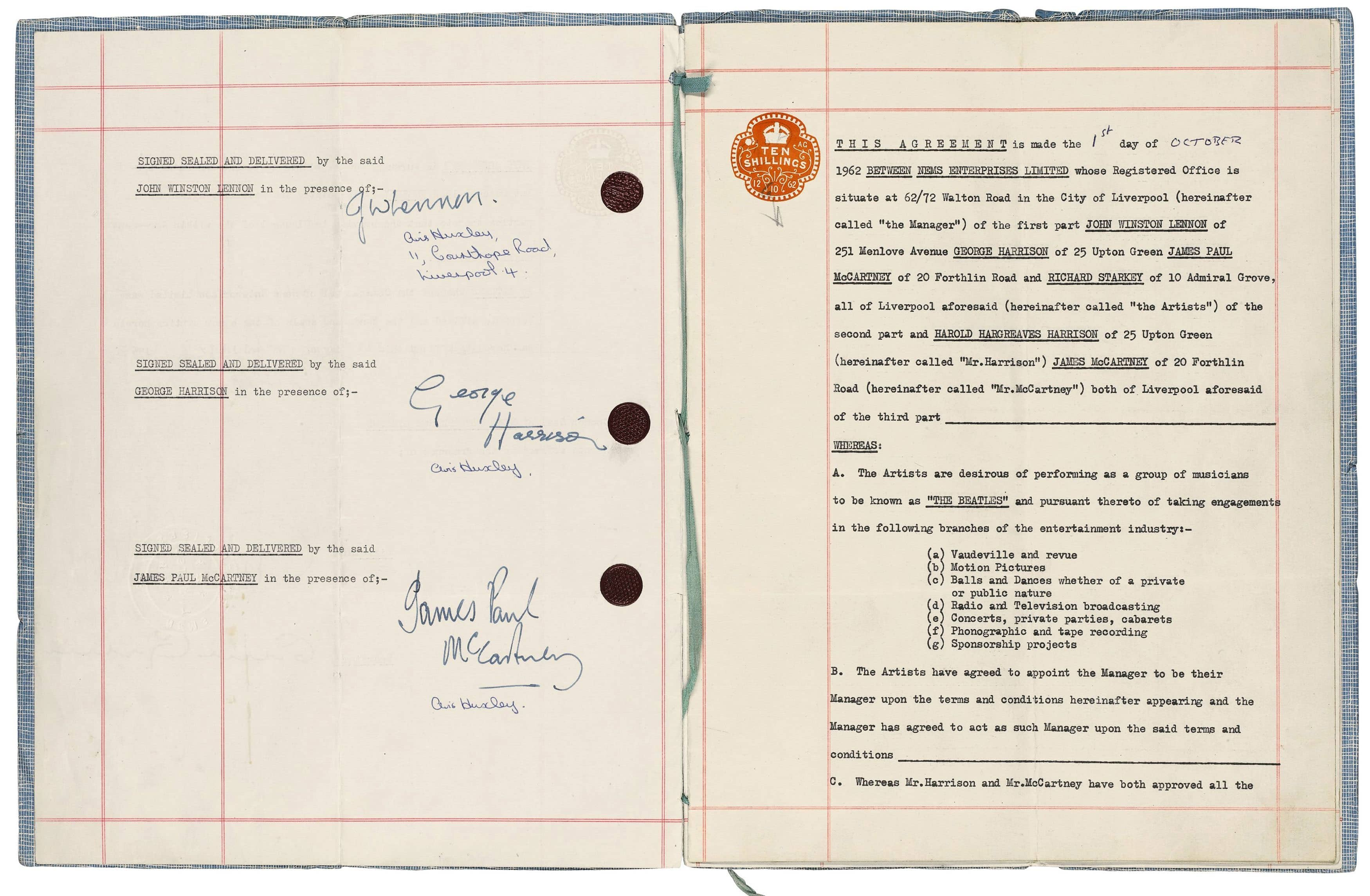 Contract signed by The Beatles and Brian Epstein, 1 October 1962