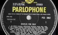 Label for the Beatles For Sale vinyl LP (side 1)