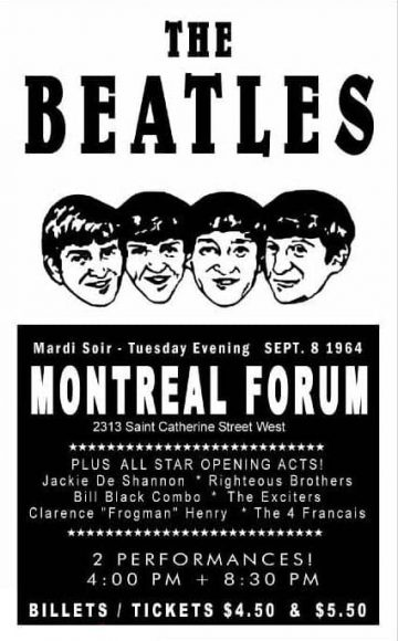 Poster for The Beatles at the Montreal Forum, 8 September 1964