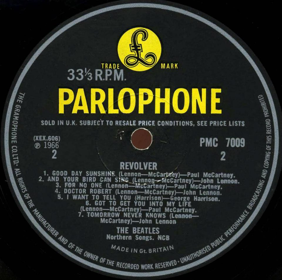 Label for The Beatles' Revolver album, side B
