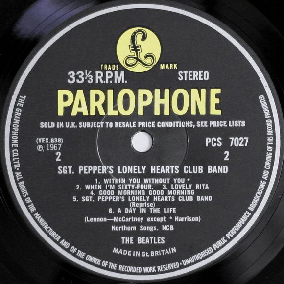 Label for The Beatles' Sgt Pepper's Lonely Hearts Club Band, side B