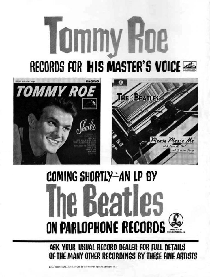 Advertisement for The Beatles and Tommy Roe, 1963