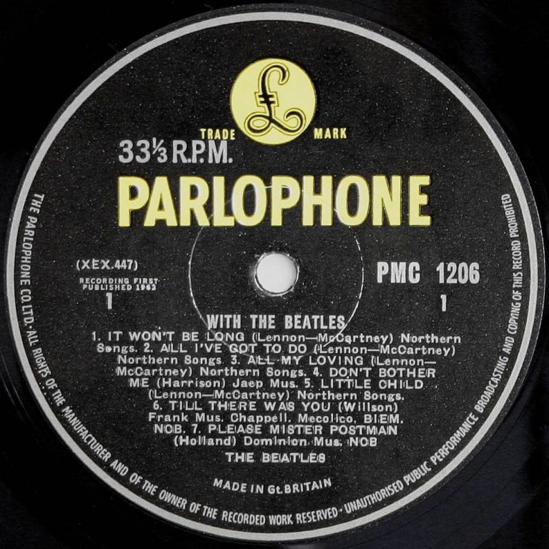 Label for The Beatles' With The Beatles vinyl LP (side 1)