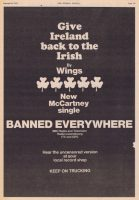 Advertisement for Give Ireland Back To The Irish by Wings