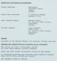 The Beatles' application to purchase the Greek island Aegos