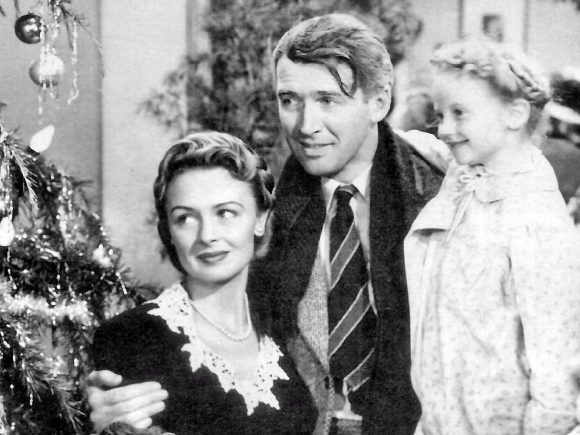 James Stewart, Donna Reed, and Karolyn Grimes in It's A Wonderful Life (1946)