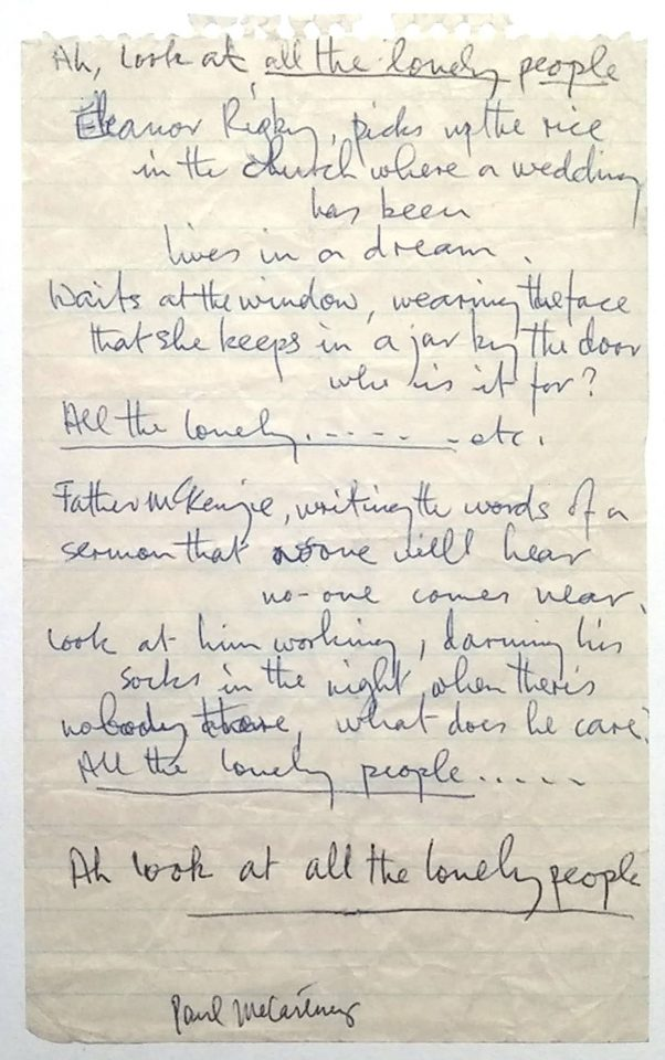 Paul McCartney's lyrics for Eleanor Rigby, 1966