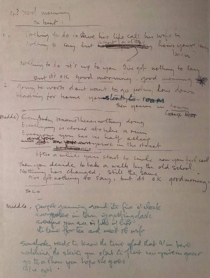 John Lennon's lyrics for Good Morning Good Morning