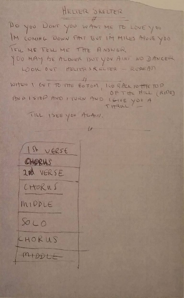 Lyrics for Helter Skelter, transcribed by Mal Evans, 1968