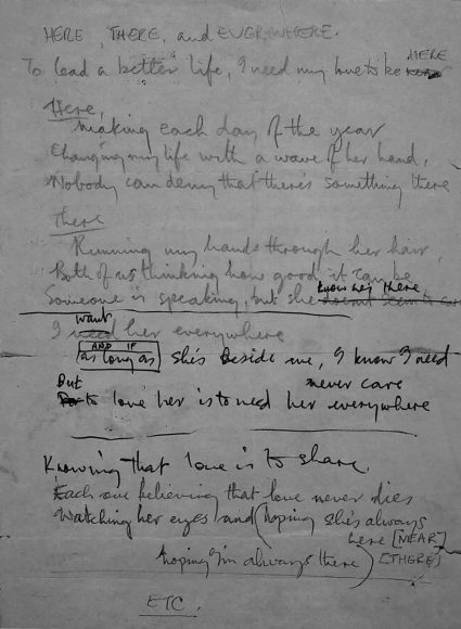 Paul McCartney's lyrics for Here, There And Everywhere, 1966