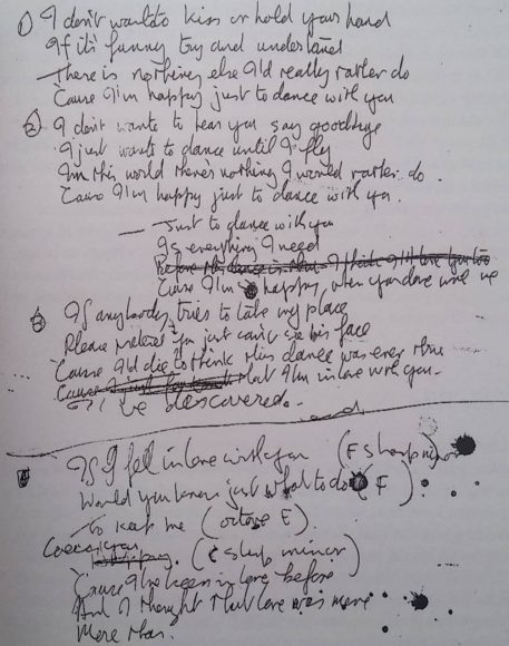 John Lennon's lyrics for I'm Happy Just To Dance With You and If I Fell, 1964
