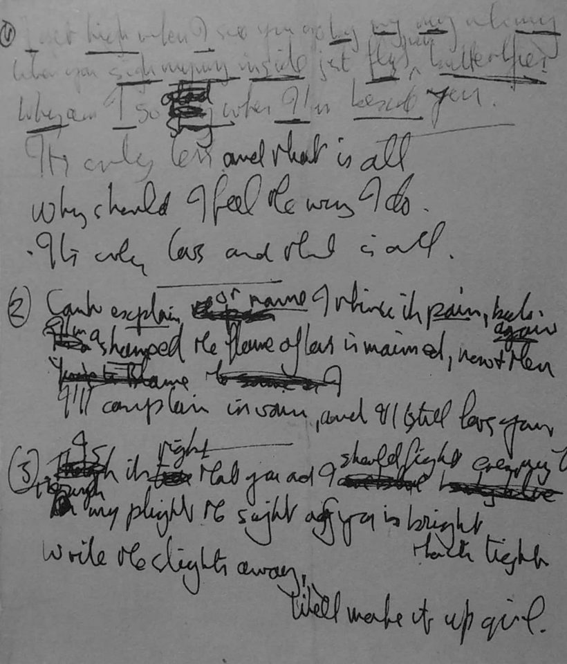 John Lennon's lyrics to It's Only Love, 1965