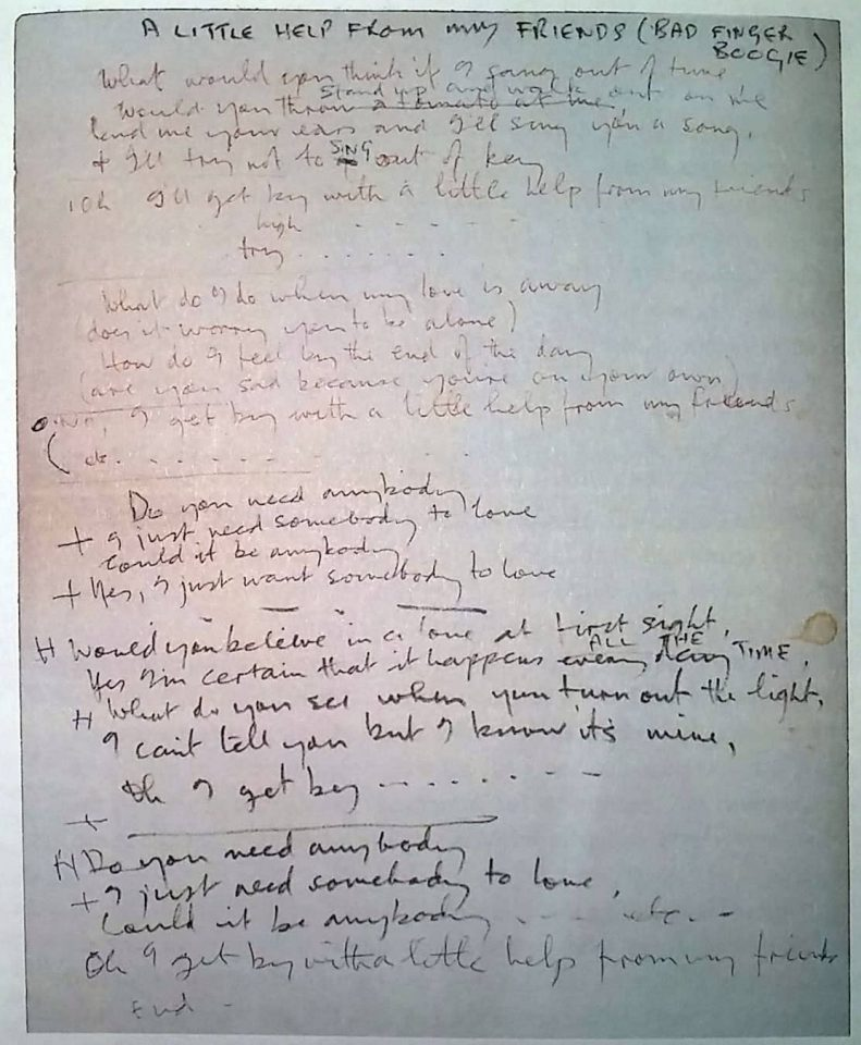 Handwritten lyrics for With A Little Help From My Friends