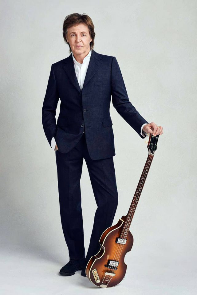 Paul McCartney with his Hofner bass guitar