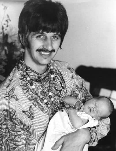 Ringo Starr and baby Jason Starkey, 1967