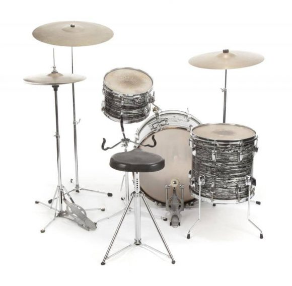 Ringo Starr's Ludwig oyster black pearl drum kit (rear view)
