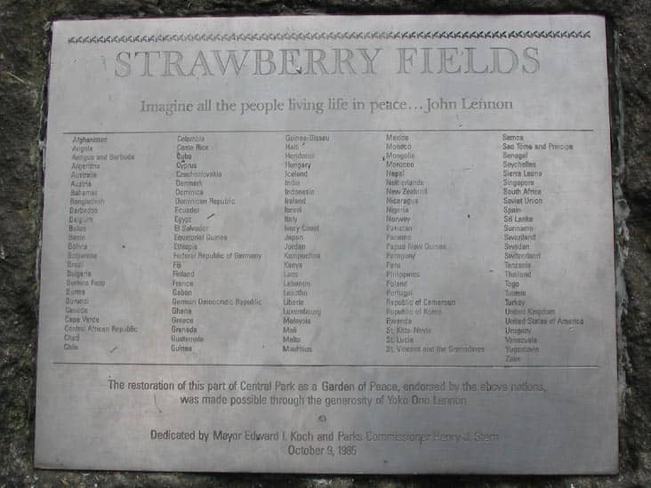 Strawberry fields plaque in central park new york city the strawberry fields plaque in central park new york city fandeluxe Choice Image