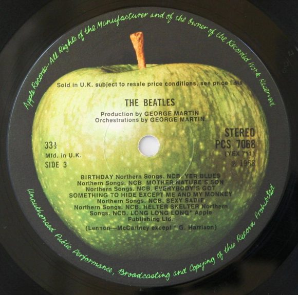 The Beatles (White Album) label, side 3